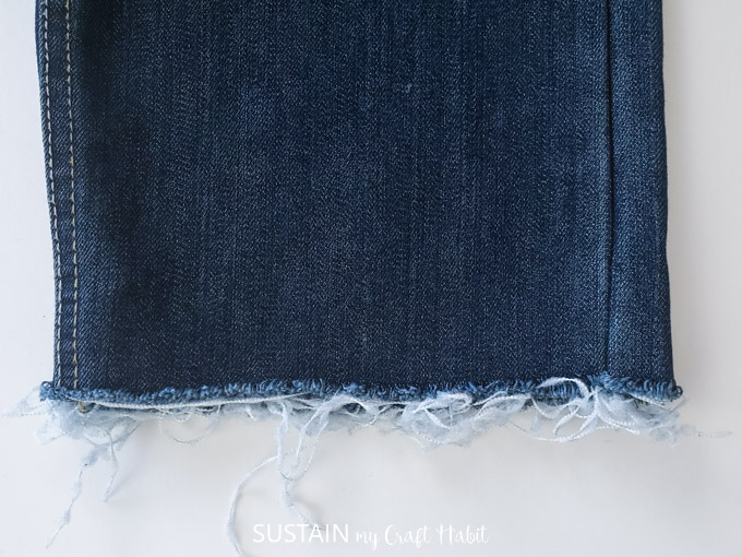 frayed edge on jeans