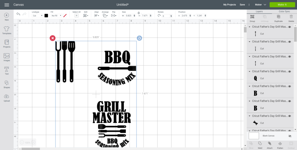 "Upload Father's Day ""Grill Master"" SVG File into Cricut Design Space."