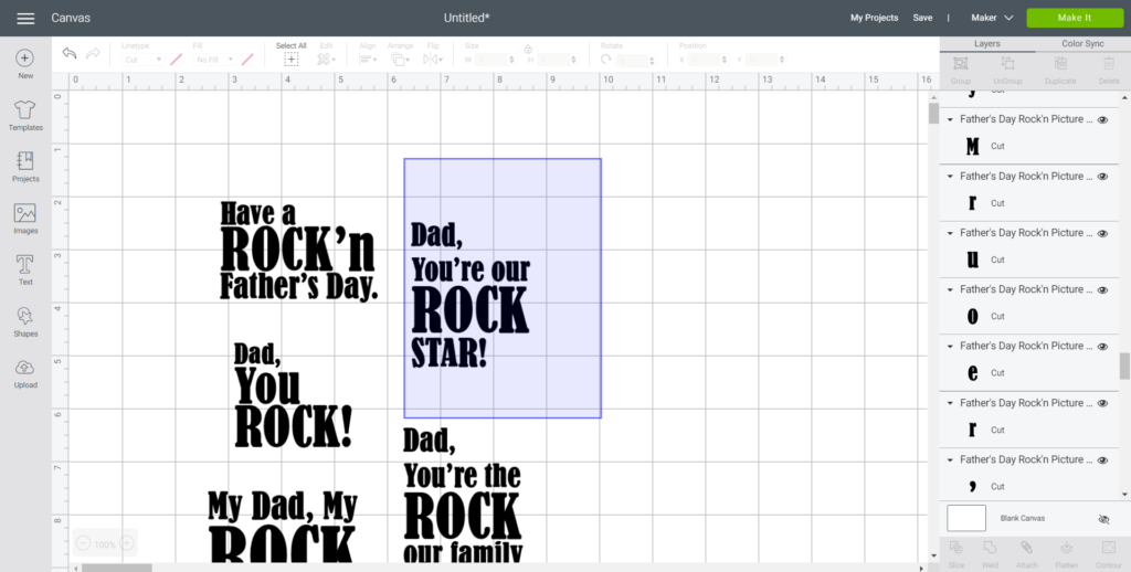 Ungrouping the Father's Day Rock'n phrases in Cricut's Design Space.