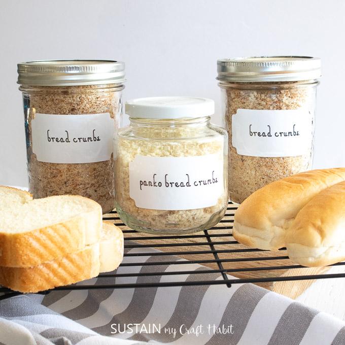 DIY bread crumb jar abels made with Cricut Joy.