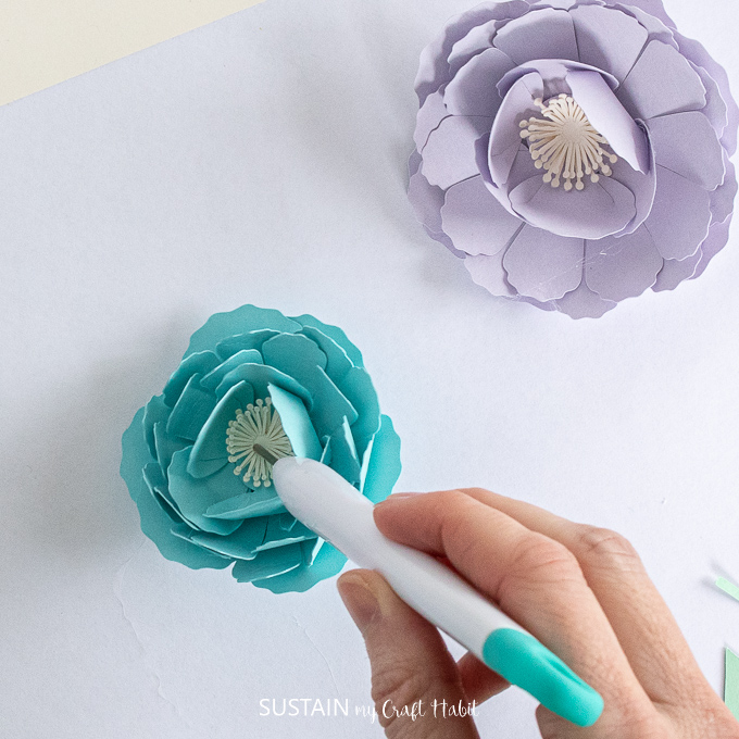 Adding the center flower to the blue peony.
