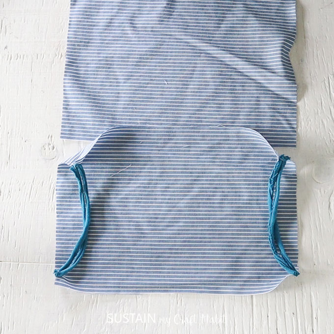 sew elastic to sides of one rectangular piece
