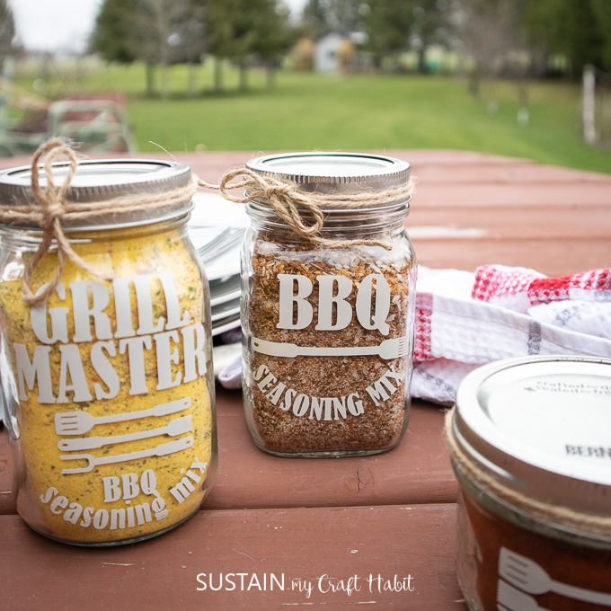 Grill Master seasoning mix jars for a Father's Day BBQ