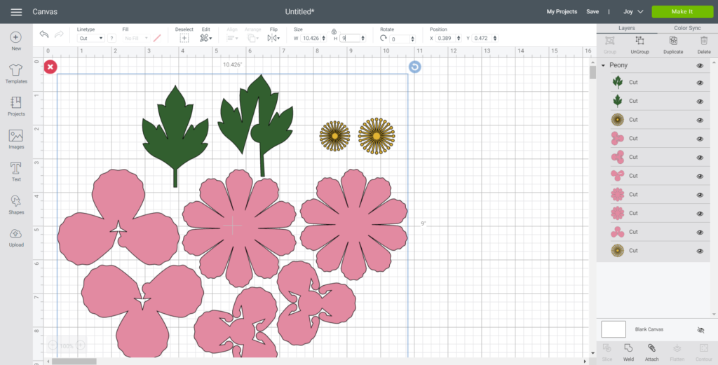Resizing peony flowers in Cricut design space to 9 inches high.