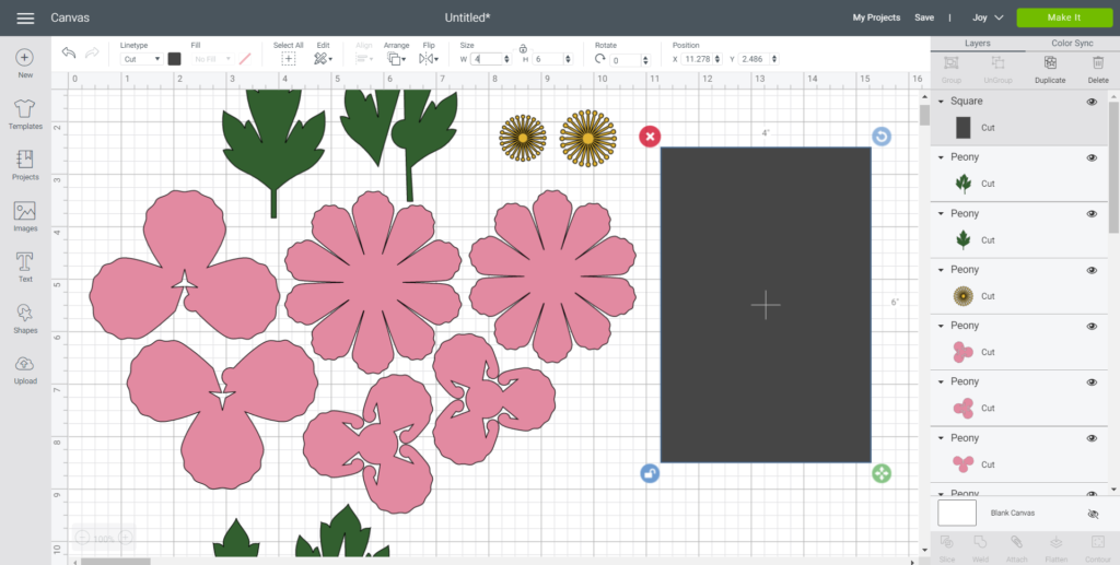 "Changing the size of peony images to 4""x6"" in Cricut's design space."