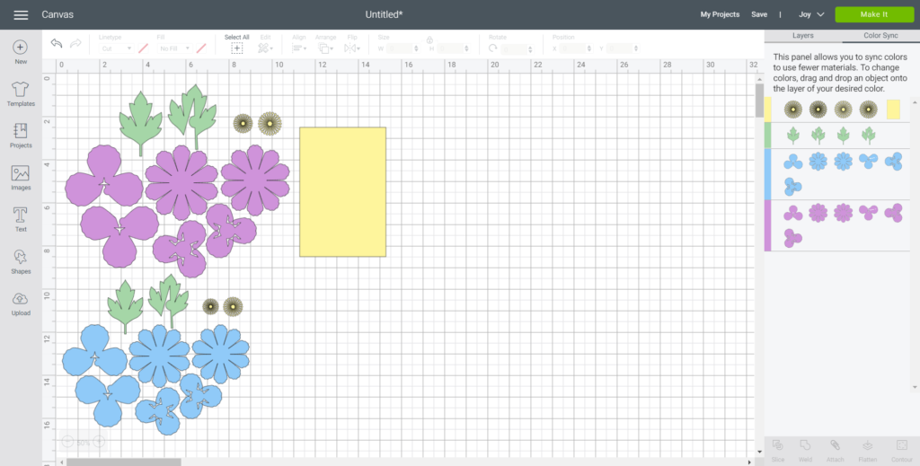 Ungrouping peony images and sorting them by color in Cricut's design space program.
