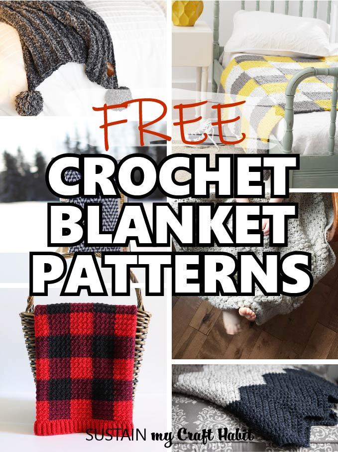 a round up image showing a variety of free crochet blanket patterns