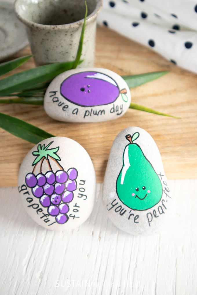 Fruit painted kindness rocks. Includes grapes, a pear and a plum.