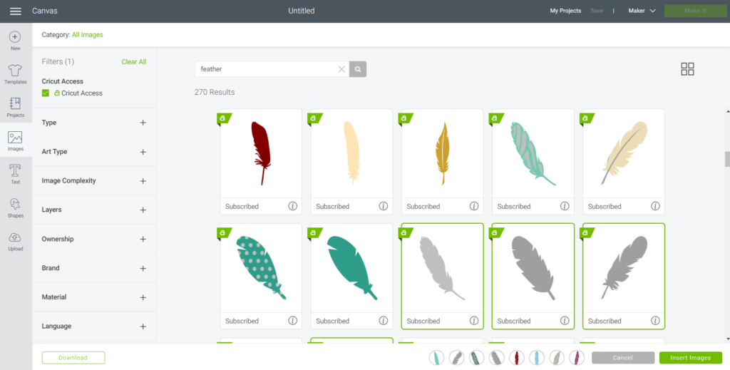 Searching for feather images in Cricut's Design Space.