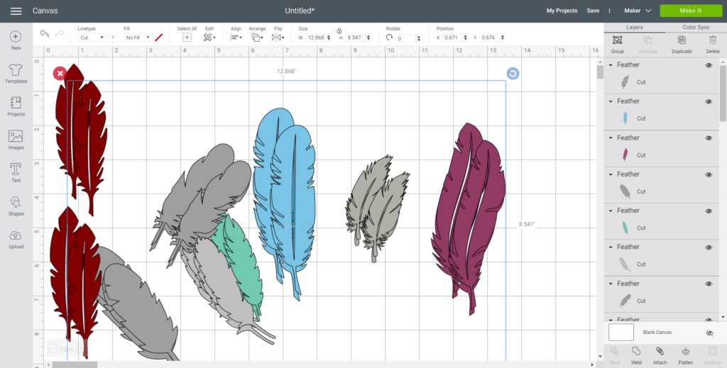 Changing the size of each feather in Cricut's Design Space.