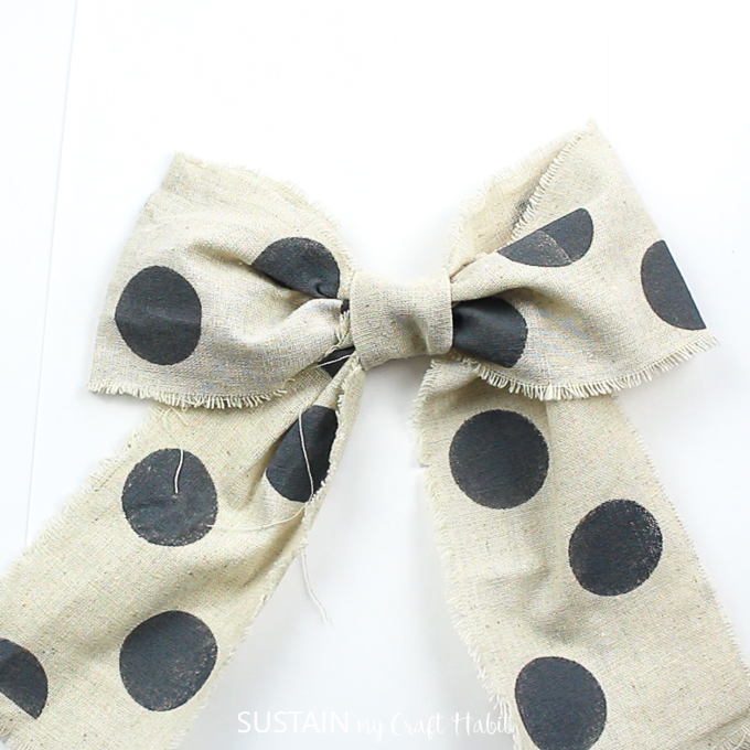 Finsihed polka dot ribbon made into a bow.