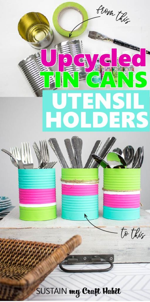 Upcycled tin cans utencil holders.