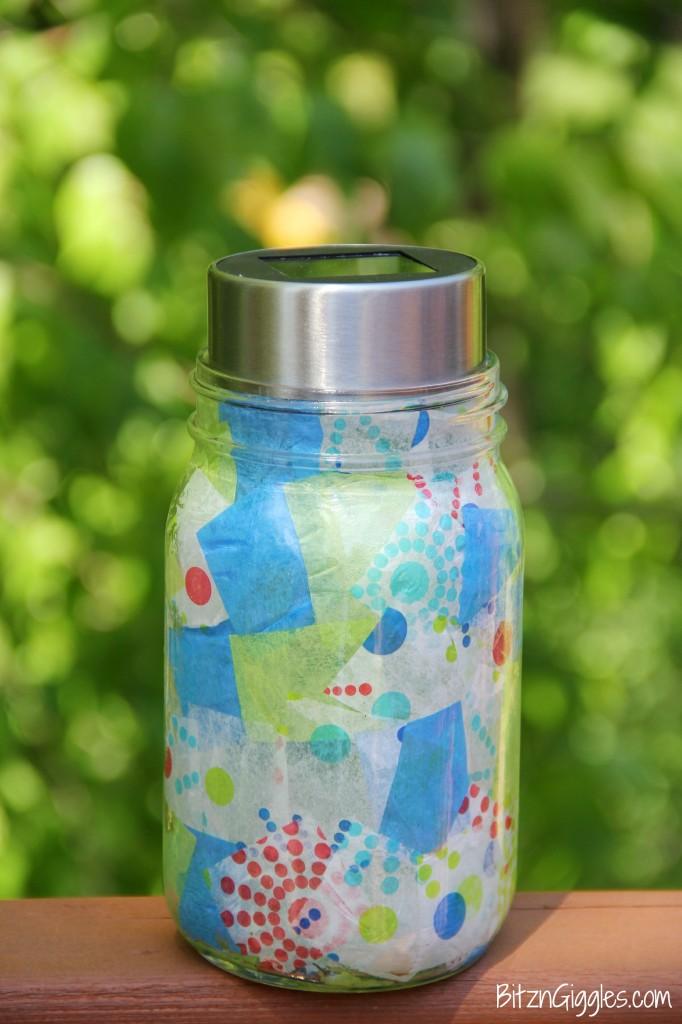 mason jar craft made into a solar light.