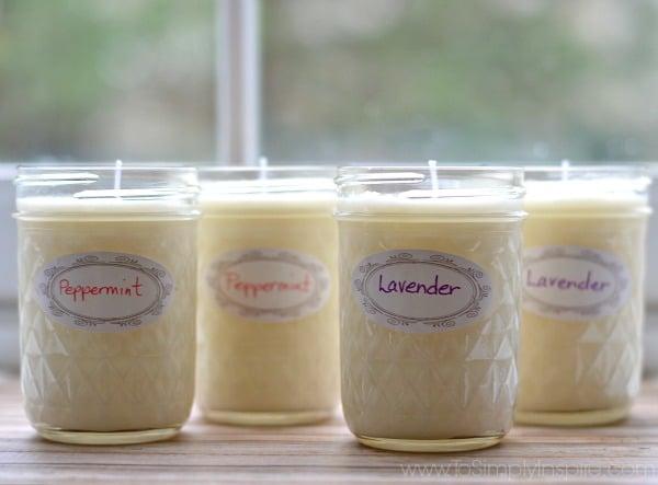 Four mason jar soy candles.