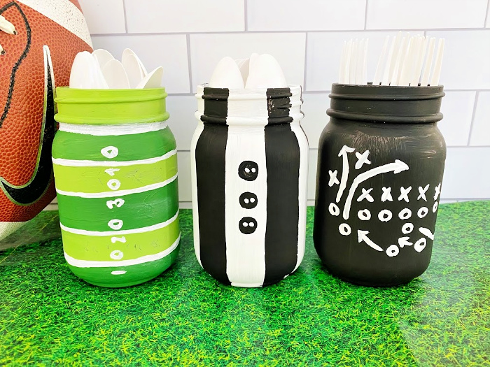 Mason jar crafts made into football themed centerpieces.