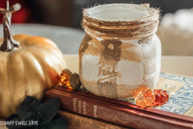 Plaid painted mason jar.