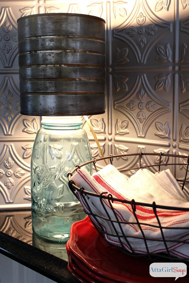 mason jar made into a table lamp