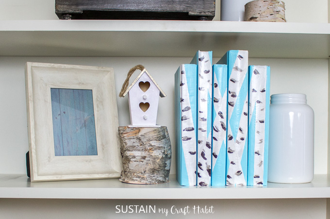 A book shelf with birch bark painted decorative books, wood slices, a birdhouse, picture frame and white bottle.