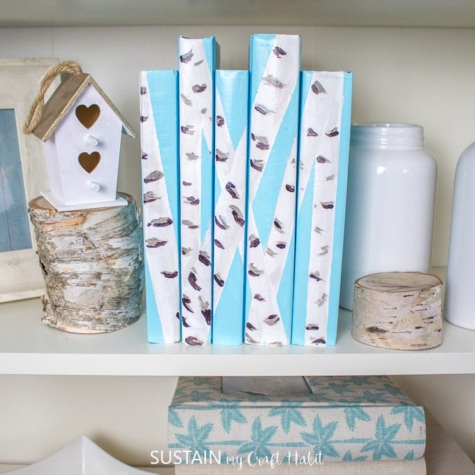 Close up of birch bark painted decorative books.