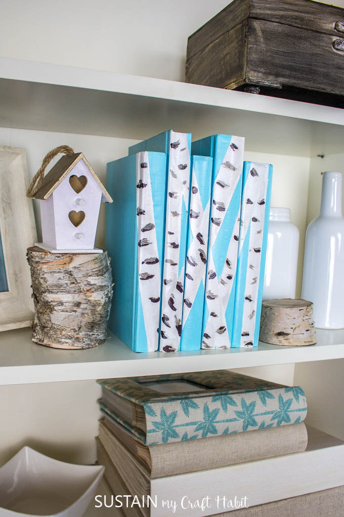 A book shelf with birch bark painted decorative books, wood slices, a birdhouse and white bottles.