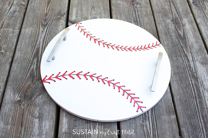Finished baseball inspired DIY serving tray