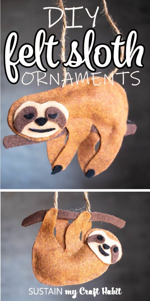 "Craft with no-sew felt sloths and text overlay ""DIY felt sloth ornaments."""