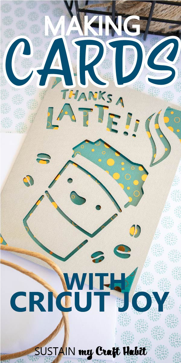 """A greeting card cut out with text overlay """"Making cards with Cricut Joy."""""""
