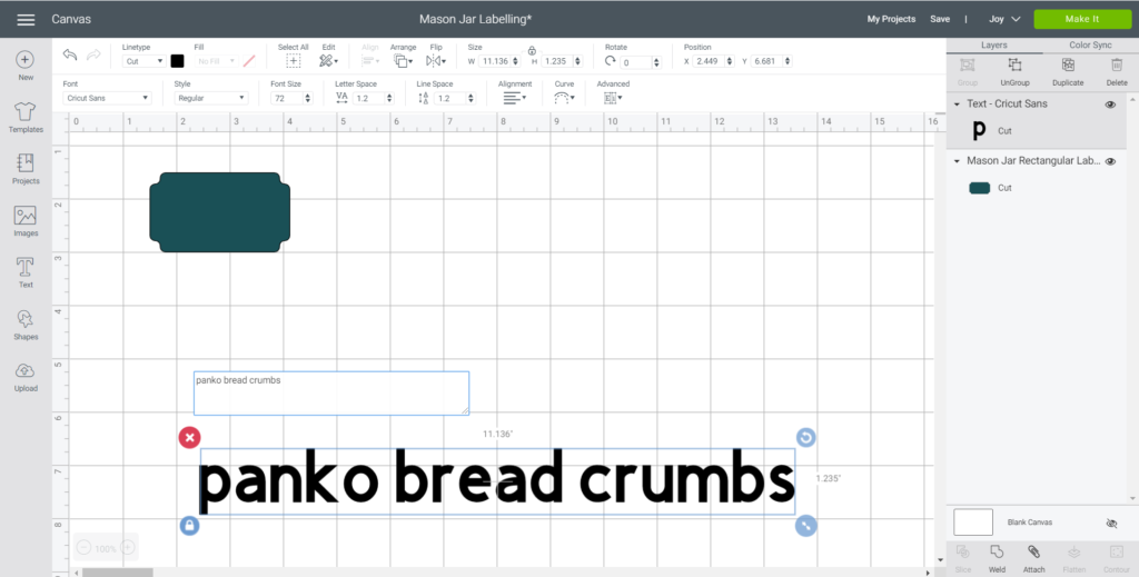 "Adding text ""panko bread crumbs"" onto Cricut Design Space."