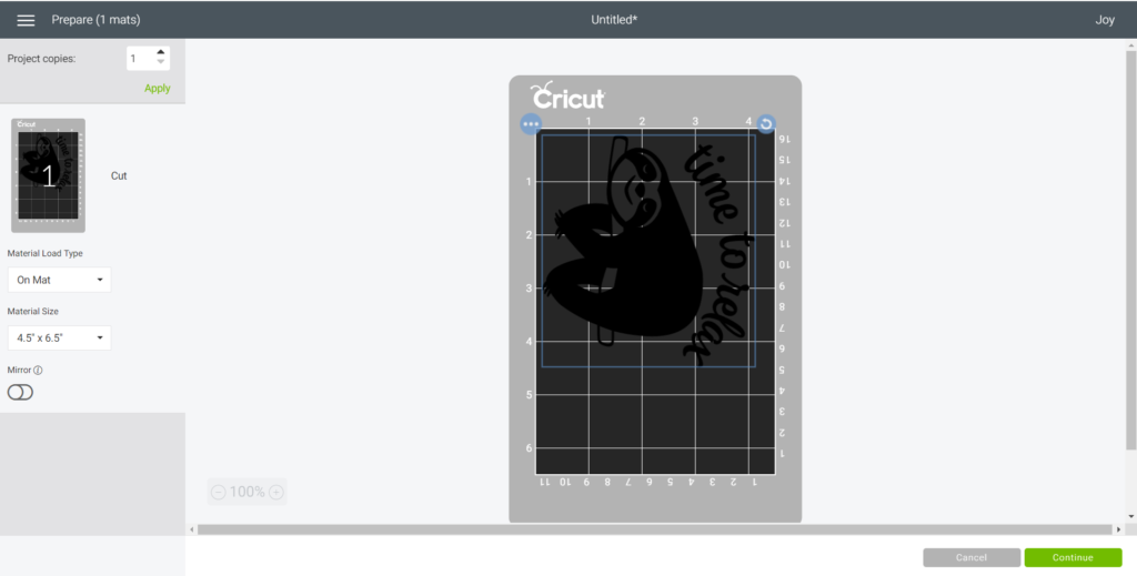 Preparing the mat for cutting in Cricut Design Space.