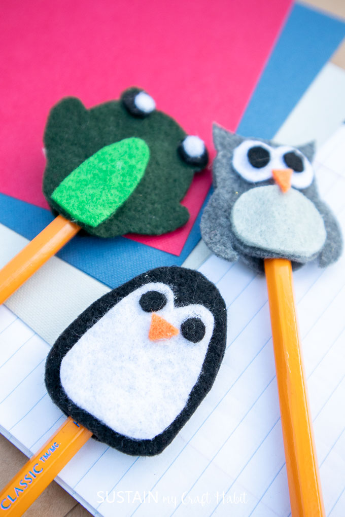 Penguin, frog and owl felt animals pencil toppers