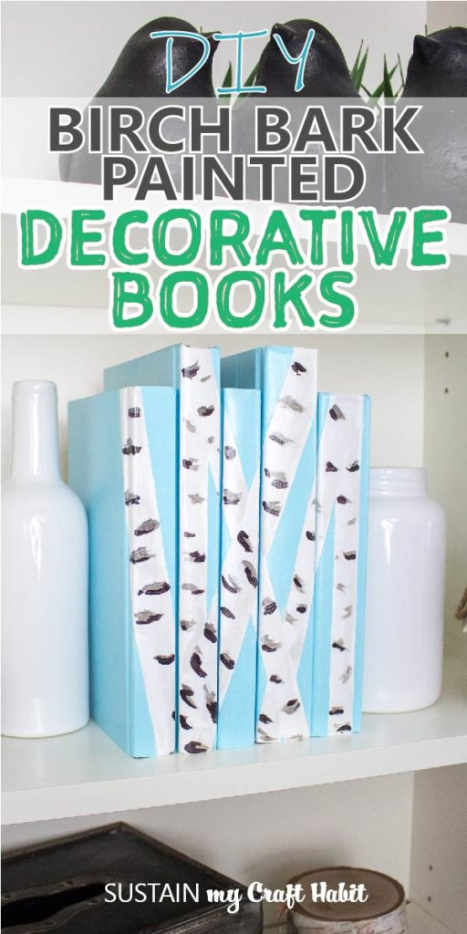 "Birch bark painted decorative books with text overlay ""DIY birch bark painted decorative books."""