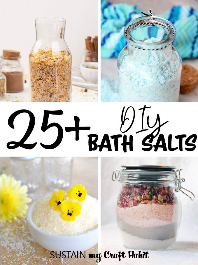 Collage of images showing DIY bath salts