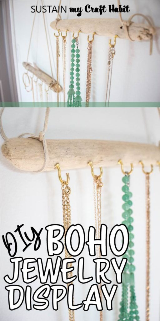 A close up of two Boho driftwood jewelry hangers with text overlay.