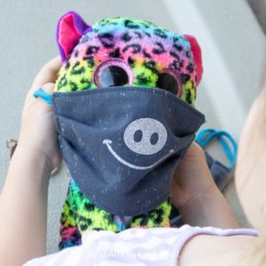 iron on decal added to kids reusable face mask