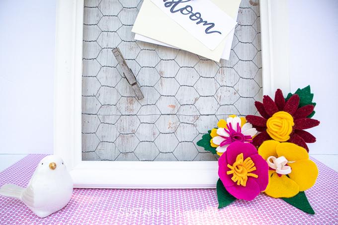 Photo Display with felt flowers