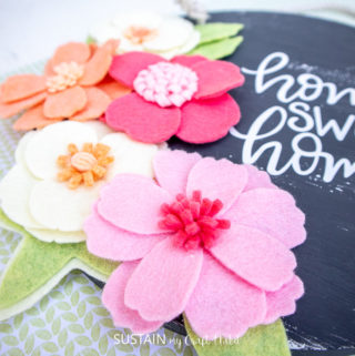 felt flowers home decor sign