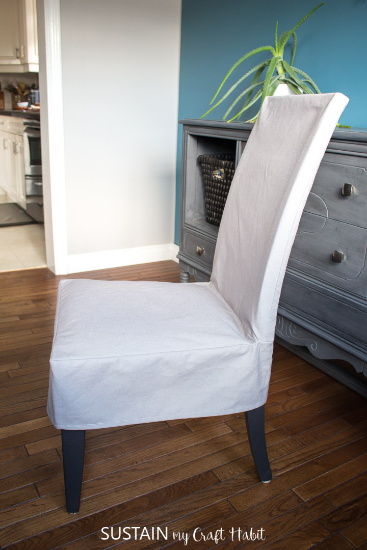 completed dining room chair slipcover in grey