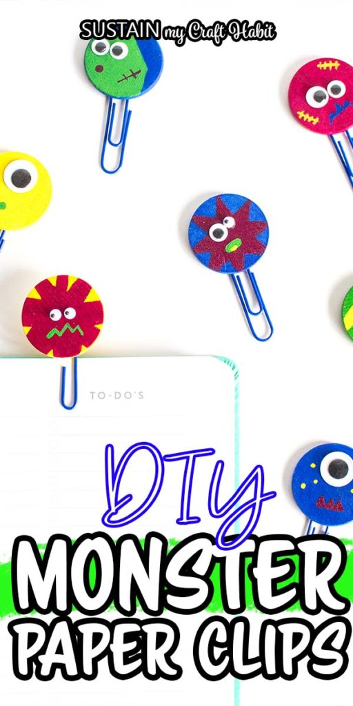 "Purple paperclip bookmarks with text overlay ""DIY monster paper clips."""