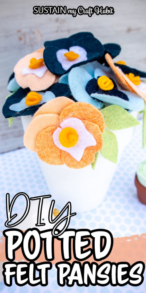 "Potted felt pansies with text overlay ""DIY potted felt pansies."""