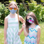 kids fitted face mask on two girls aged 6 years old and 9 years old