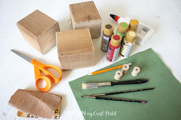 materials needed to make a DIY Wood Block Apples.