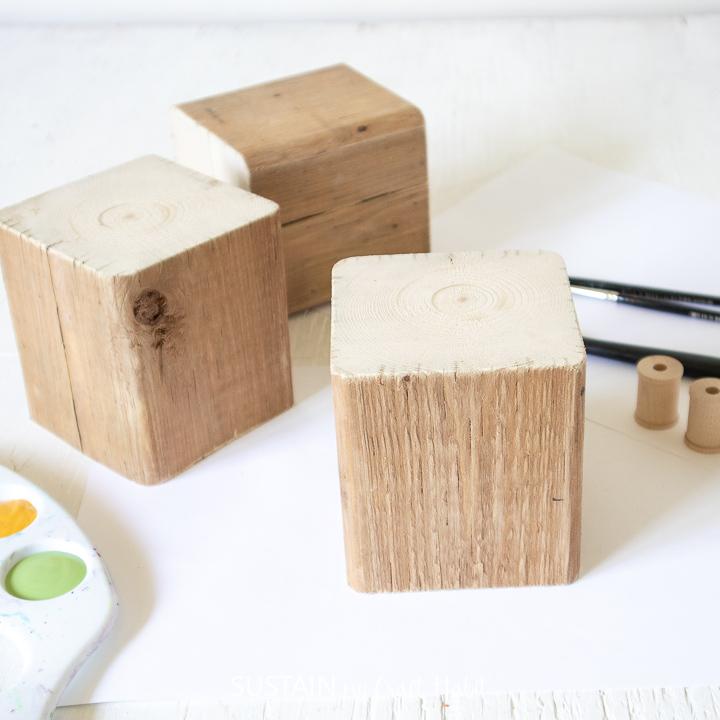 Three wood blocks.