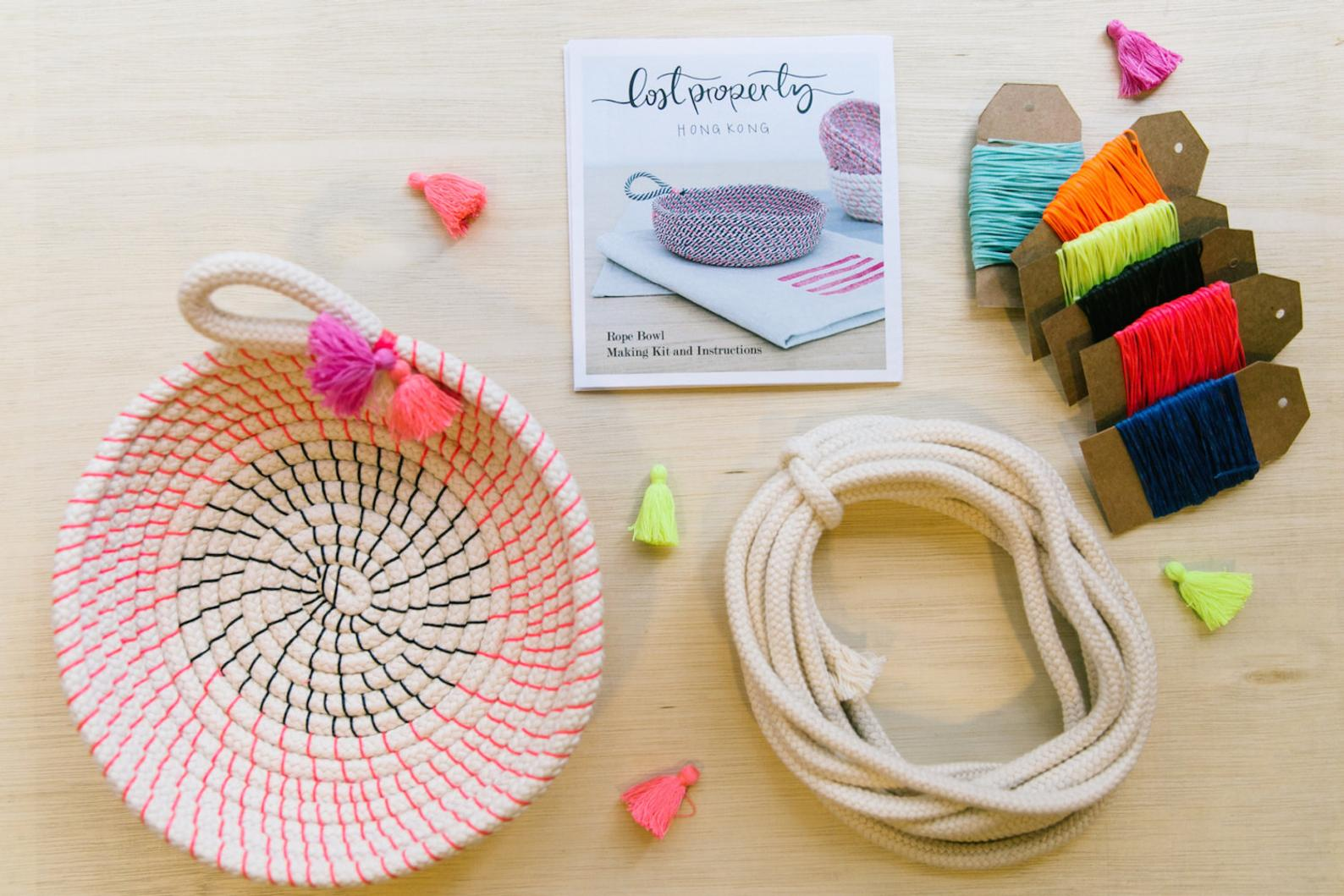 Craft kit for making a coiled rope bowl