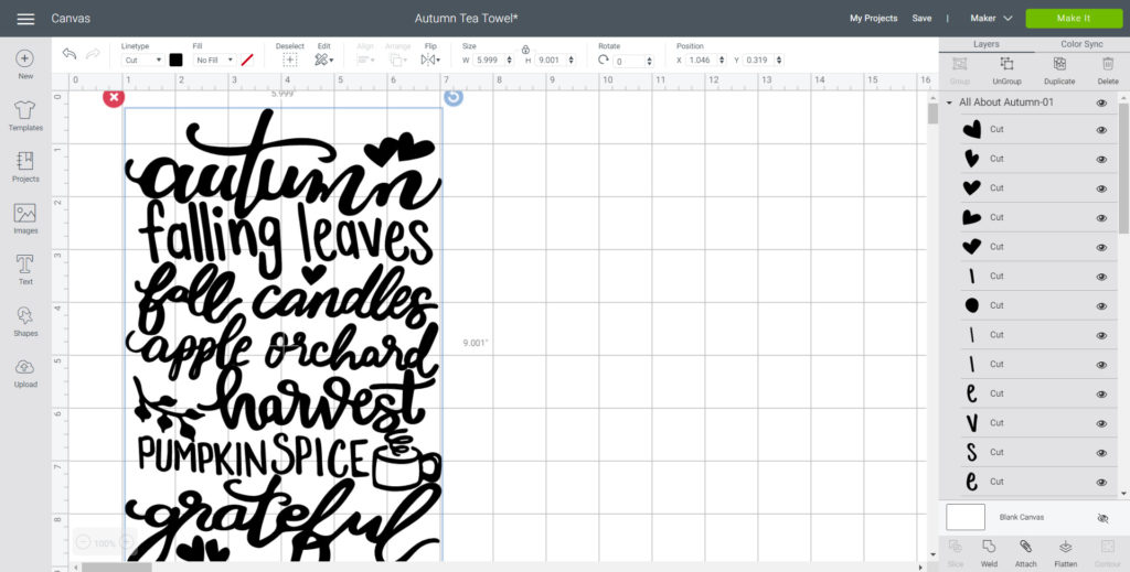 Uploading the All About Autumn SVG file on Cricuts design space.