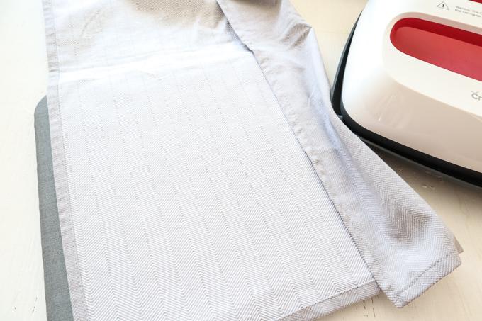 Turning the tea towel upside down.