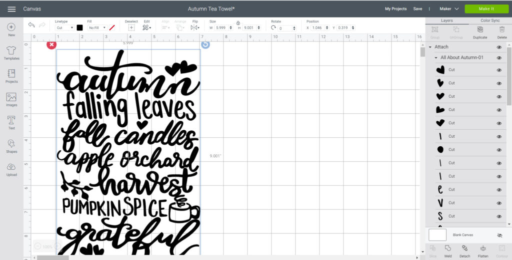 Adjusting the height of the SVG file on Cricut's design space.