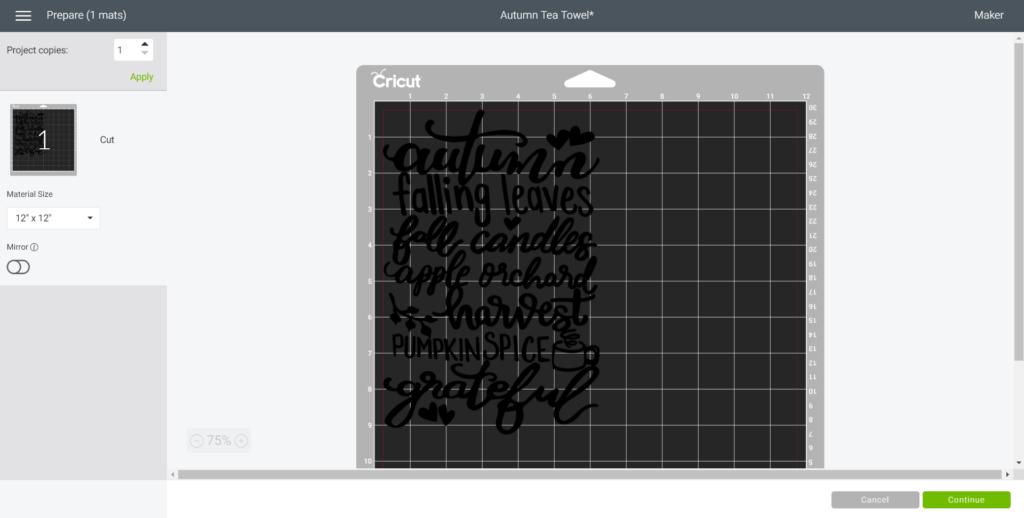"Selecting ""Make it"" in Cricut design space."