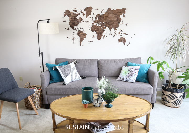 assembled Enjoy the Wood 3D world map wood wall art