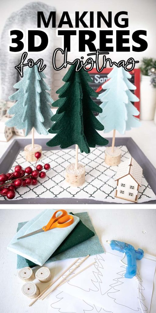 collage of DIY felt 3D Christmas tree decor placed on decorative tray and materials with text overlay.