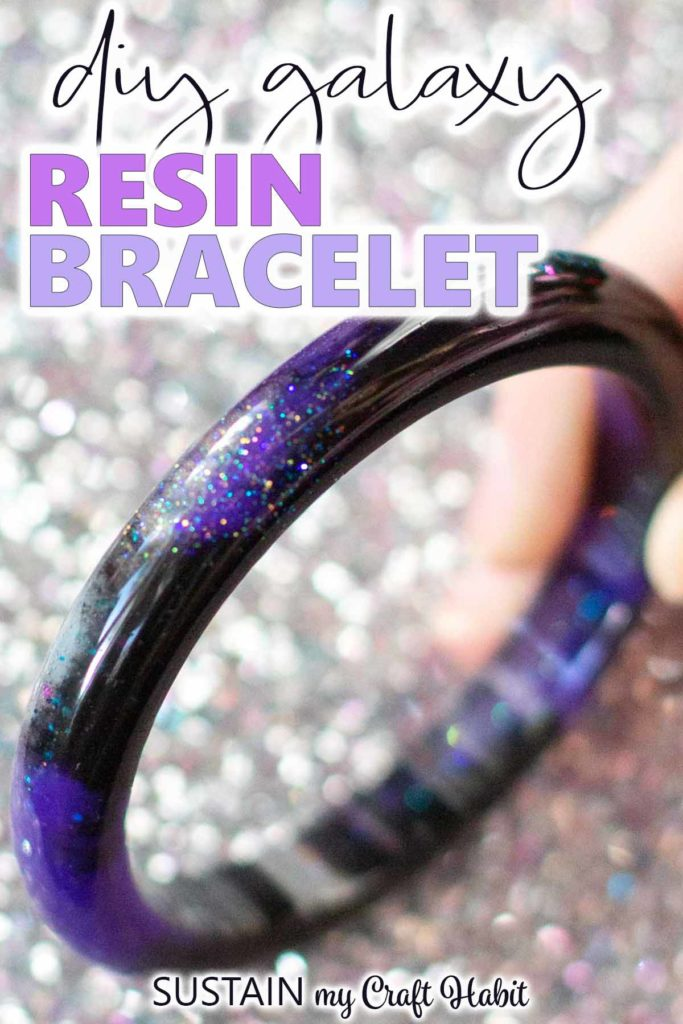Close up of the galaxy inspired resin bracelet with text overlay.